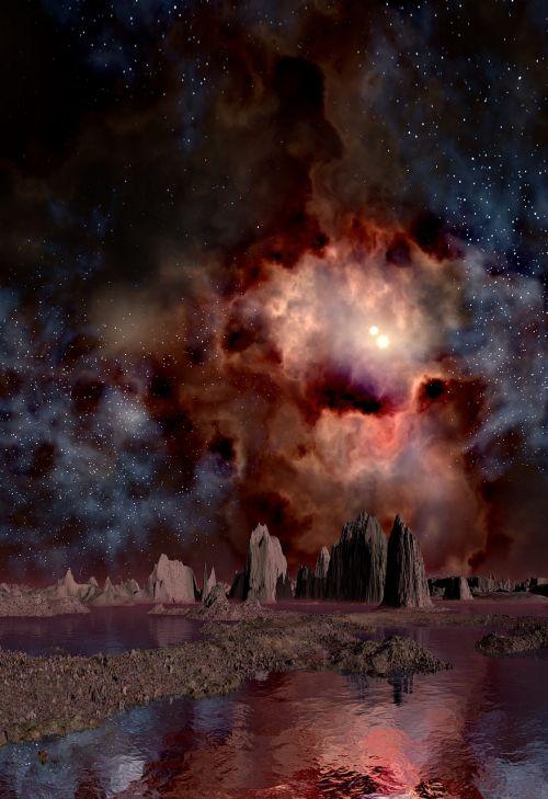 lunar landscape space gas fog