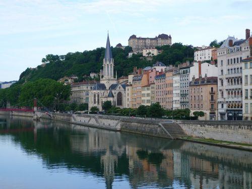 Lyon France,upė,miestas,Europa,france,vanduo