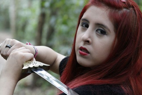 lyzz flowers,saulo valley,girl,sword,poser,fight,war,red,hair,forest
