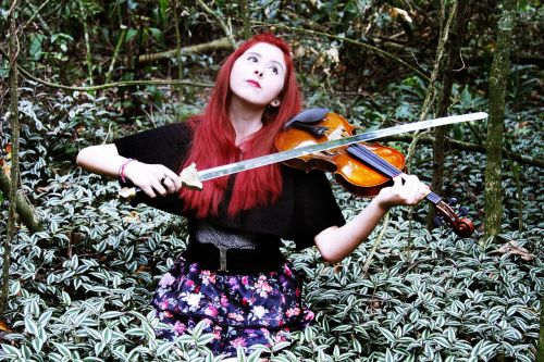 lyzz hana woman and violin music in the forest
