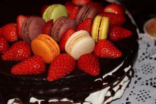 macarons  strawberry cake  chocolate icing