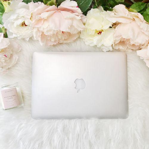 macbook laptop peonies