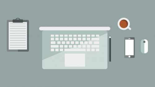 macbook workspace flat design