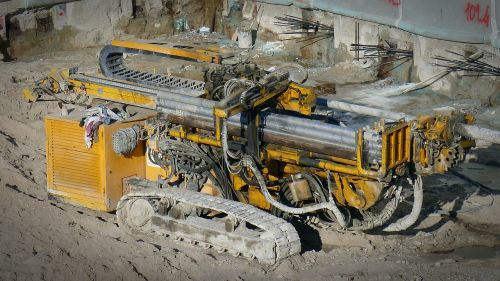 construction work machine drilling