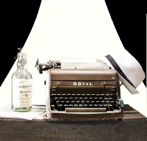 machine writing vintage alcohol