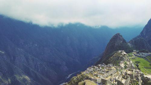 machu picchu inca trial aerial view