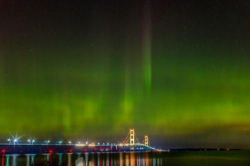mackinac bridge northern lights michigan