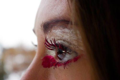 macro eye girl paint