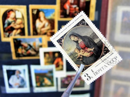 madonna postage stamps painting