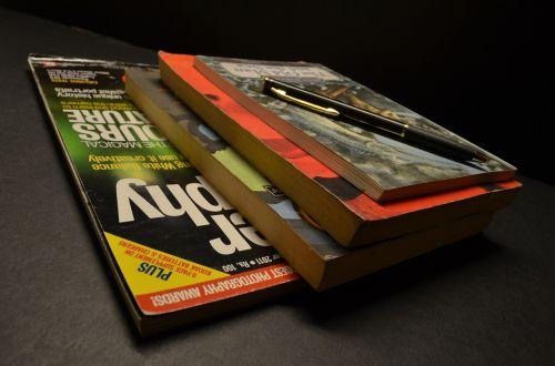magazines books pen