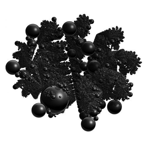 juoda, magija, rutuliai, sferos, menas, fraktalas, izoliuotas, figūra, forma, balta, fonas, magija kamuoliai