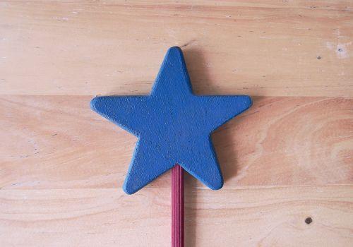 magic wand star wood blue star