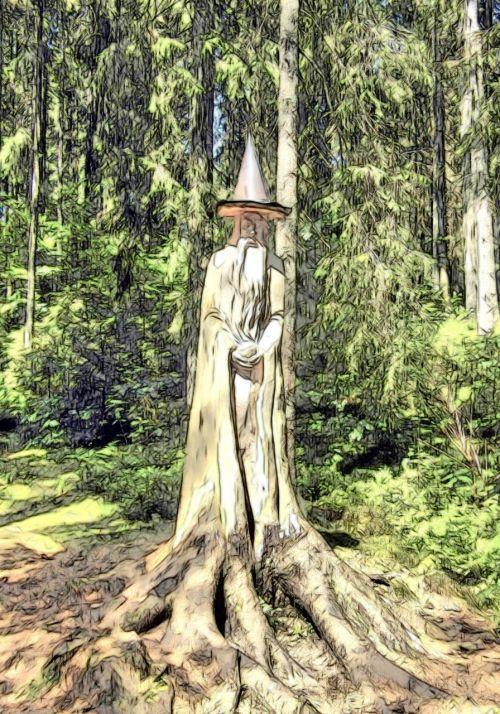 magas,merlinas,piešimas,miškas,Juodasis miškas,magiškas miškas,magija,pasakos,pasakų miškas,žurnalas,mediena,drožyba