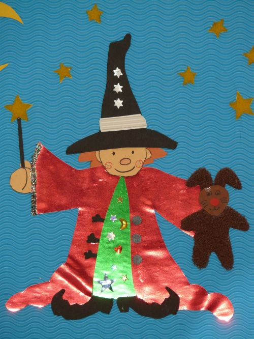 magician wand magic hat