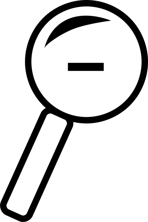 magnifying glass minus sign