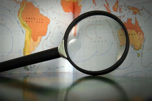 magnifying glass map geography