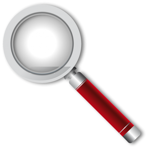 magnifying glass red glass