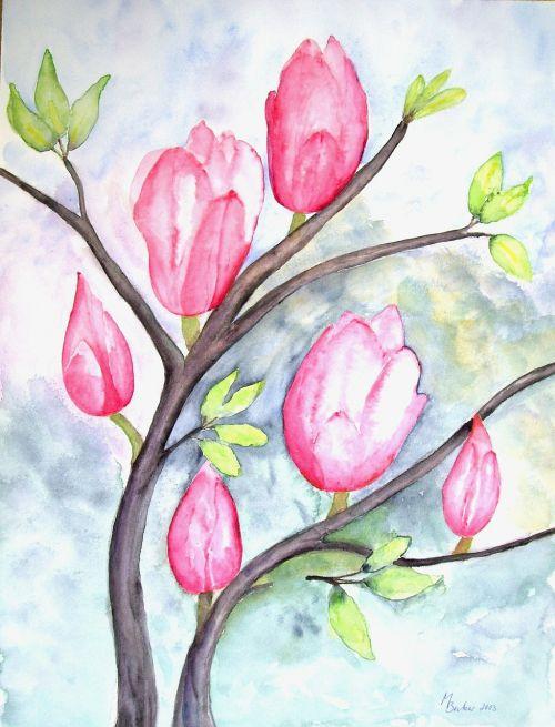magnolia flowers painting