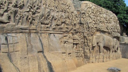 mahapalipuram,india,relief,mammalapuram,descent of the ganga,granite,free photos,free images,royalty free