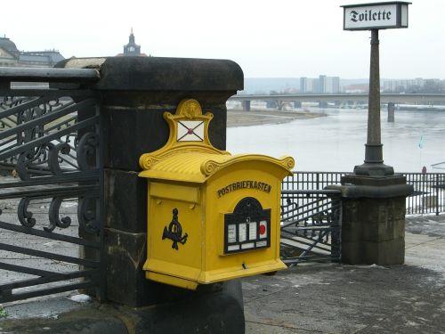 mailbox post mail box yellow