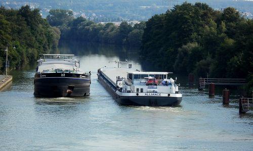 main danube canal cargo ships against traffic