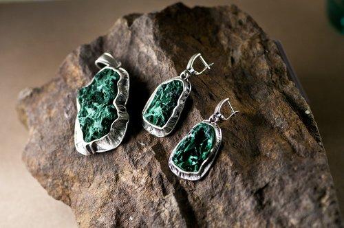 malachite  silver  russia