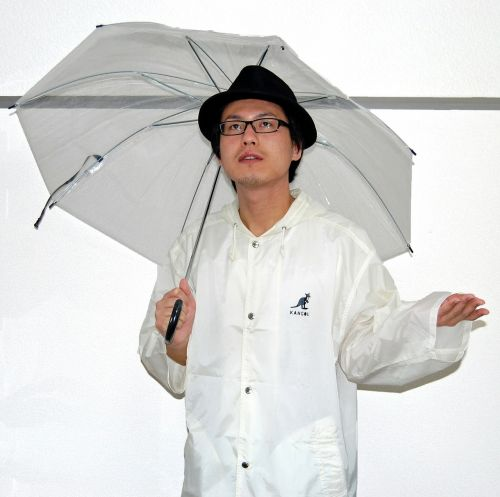 male person umbrella