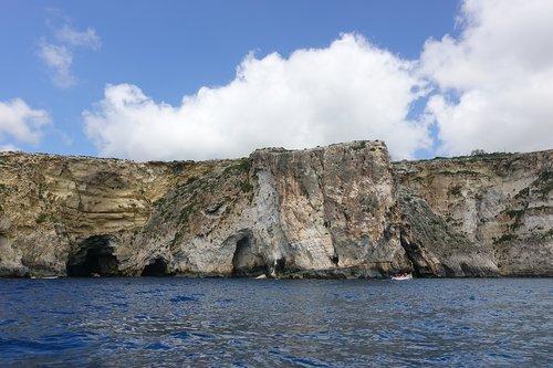 malta  the blue grotto  sea