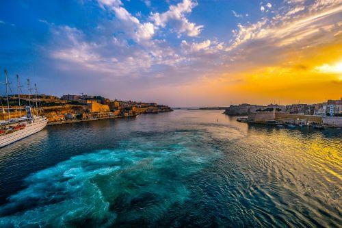 Malta Harbor At Sunrise