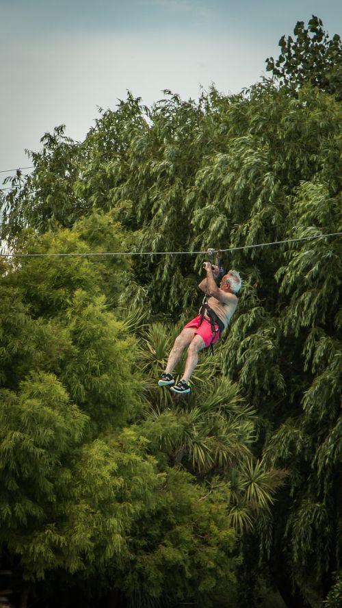 man hanging nature