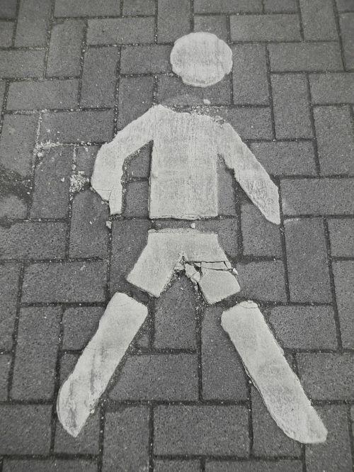 man paved pedestrian