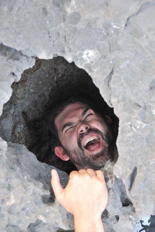 man falling hanging