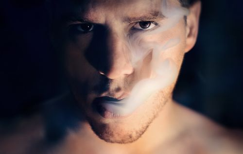man portrait smoke cloud