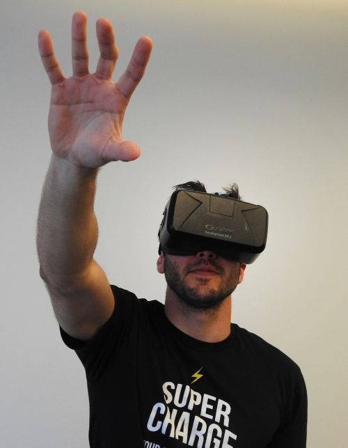 man virtual reality oculus