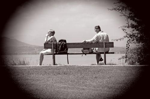 man woman bench