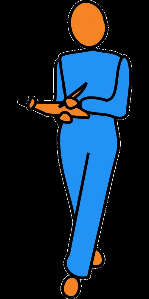 man checking checklist