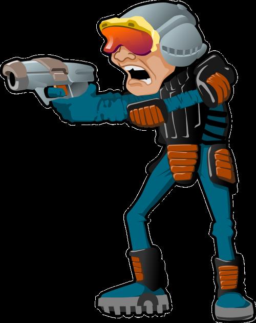 man gun helmet