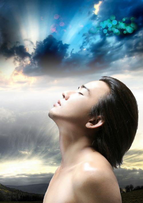 man fantasy sky