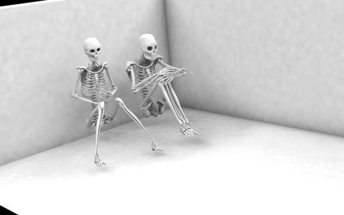 man woman skeletons