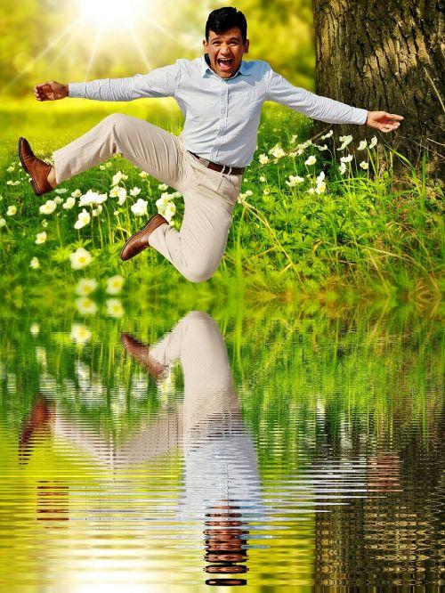 man happy air jump
