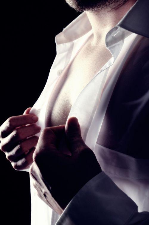 man breast drop of water