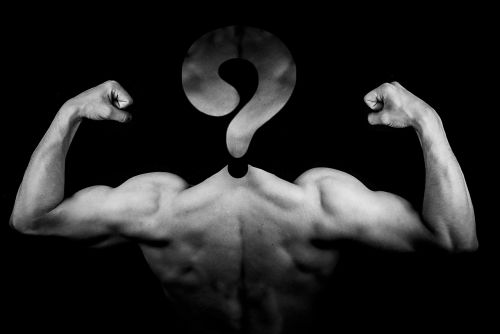 man muscles question mark