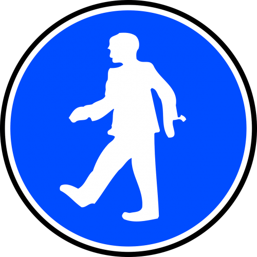 man walking caution