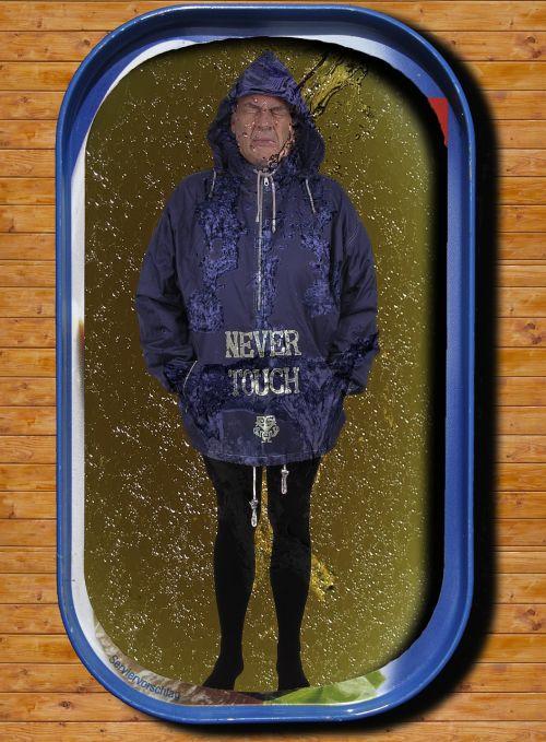 man rain jacket tin of sardines
