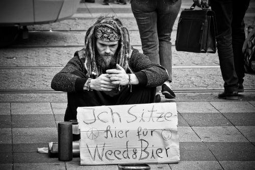 man begging lack of money