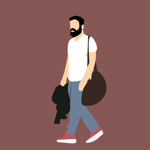 vyras,laikyti maišelį,vaikščioti,t-shirt,sportiniai drabužiai,jaunas,jaunimas,stiprus,įsitikinęs,vaikščioti į sporto salę