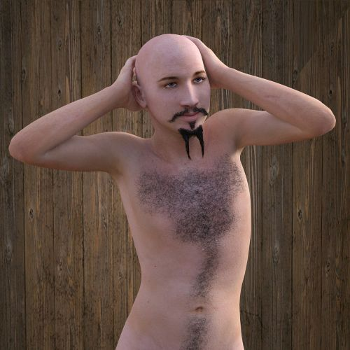 man bald head chest hair