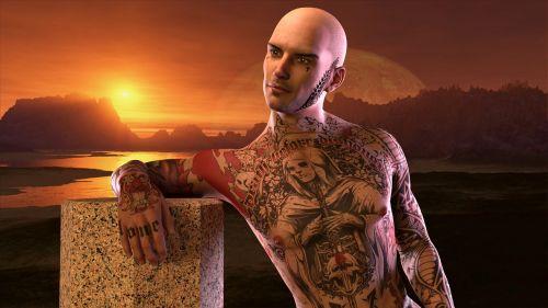 man extravagant tattoo