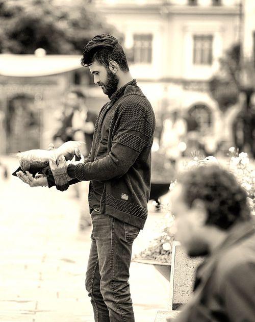 man pigeons cropping