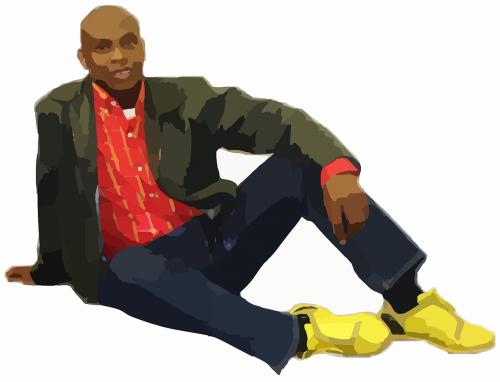 man afro-american sitting